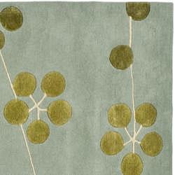 Safavieh Contemporary Handmade Soho Blue New Zealand Wool Rug (5' x 8') - Thumbnail 2