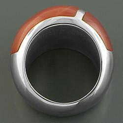 Stainless Steel Burnt Sienna Enamel Ring (Italy) - Thumbnail 1