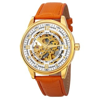 Akribos XXIV Men's Saturnos Goldtone Skeleton Dial Automatic Strap Watch