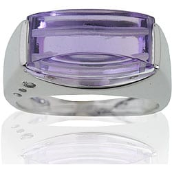 Michael Valitutti 10k White Gold Amethyst and Diamond Ring