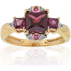 Michael Valitutti 14k Two-tone Gold Garnet and Diamond Ring