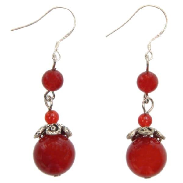 Handmade Agate Droplet Earrings (China)