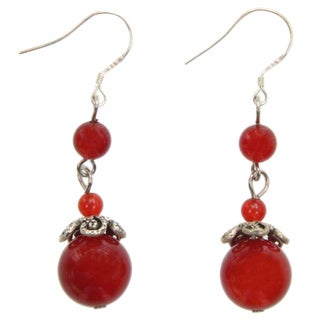 Handmade Agate Droplet Earrings (China)