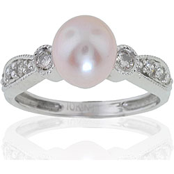 Michael Valitutti 14K Gold FW Pearl and 1/5ct TDW Diamond Ring (7mm)(I-J, I1-I2)