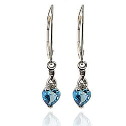 Michael Valitutti 10k White Gold Teal Topaz and Diamond Earrings