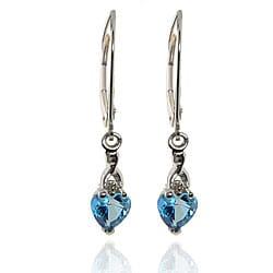Michael Valitutti 10k White Gold Teal Topaz and Diamond Earrings
