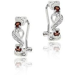 Glitzy Rocks Sterling Silver Garnet and Diamond Accent Half-hoop Earrings