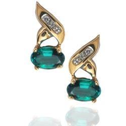 Michael Valitutti 10k Gold Created Emerald and Diamond Earrings - Thumbnail 1