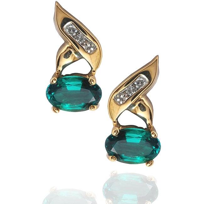 Michael Valitutti 10k Gold Created Emerald and Diamond Earrings