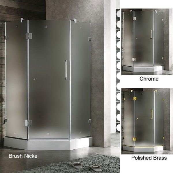 VIGO Frameless Neo-angle Frosted Shower Enclosure (36 x 36)