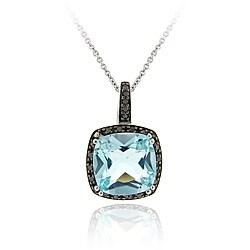 Glitzy Rocks Silver Blue Topaz and 1/4ct TDW Black Diamond Necklace