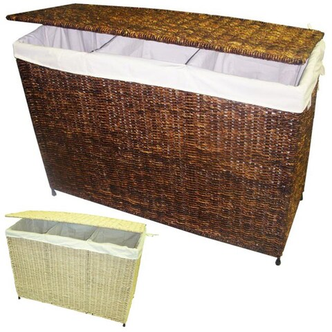 America Basket Company Woven Three-Section Lined Hamper