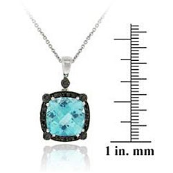 Glitzy Rocks Sterling Silver Blue Topaz and 1/4ct TDW Black Diamond Necklace - Thumbnail 2