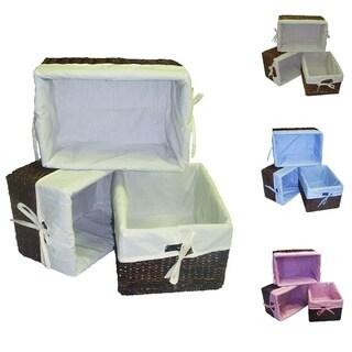 Handcrafted Woven Maize Rectangular Storage Baskets (Set of 3)