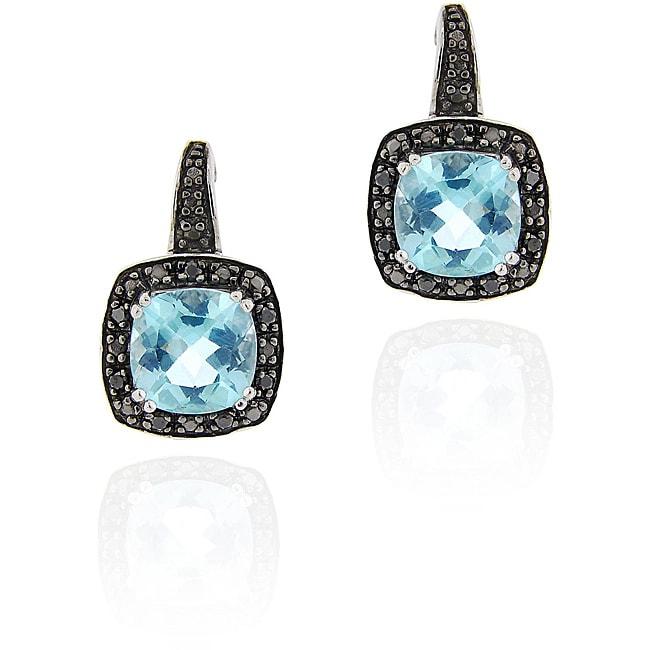 Glitzy Rocks Sterling Silver Blue Topaz and 1/8ct TDW Black Diamond Earrings