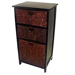 Compact Black Wicker Basket Storage Shelf