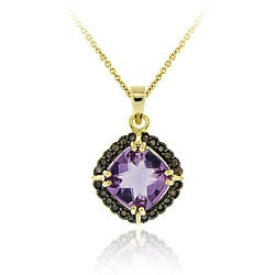 Glitzy Rocks 18k Gold over Silver Amethyst and 1/4ct TDW Champagne Diamond Necklace
