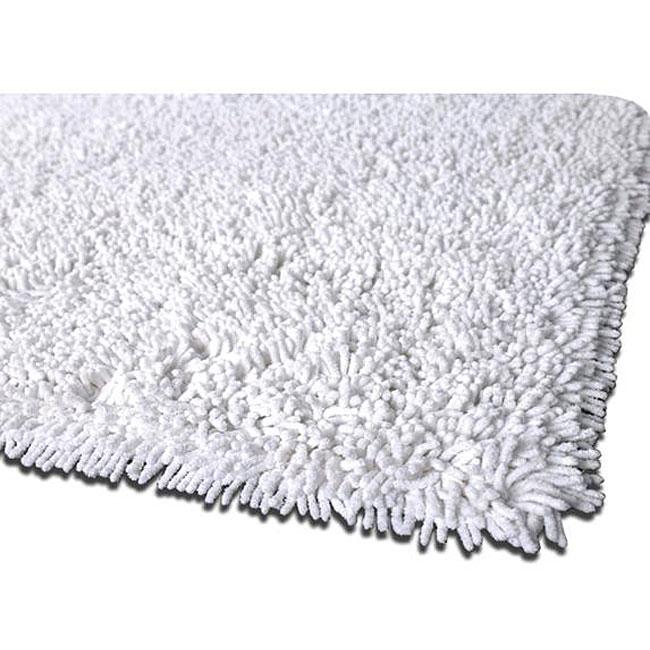 Hand-woven Premium Shaggy White Cotton Rug (4' Round)
