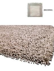 Handmade Shaggy Beige Premium Cotton Rug (5' x 8')