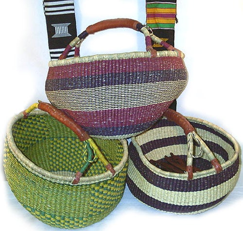 Set of 3 Straw Traditional Tribal Baskets , Handmade in Ghana