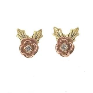 Black Hills Gold Diamond Rose Earrings