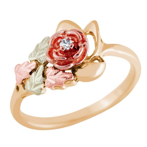 Black Hills Gold Diamond Accent Rose Ring - White