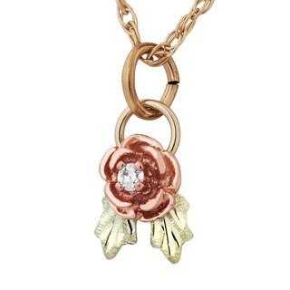 Black Hills Gold Diamond Rose Pendant