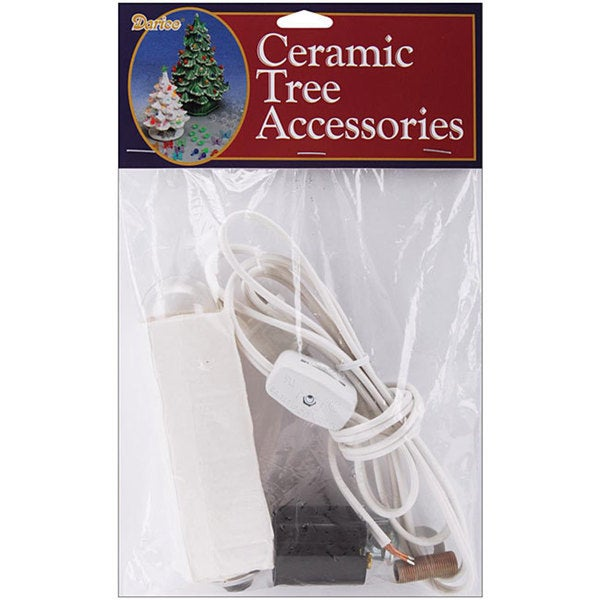 White Ceramic Christmas Tree Replacement Lamp Kit with Six-foot Cord