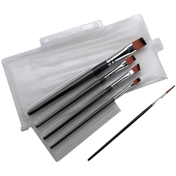 Kaisercraft Five-piece Acrylic Paint Brush Set with Storage Pocket