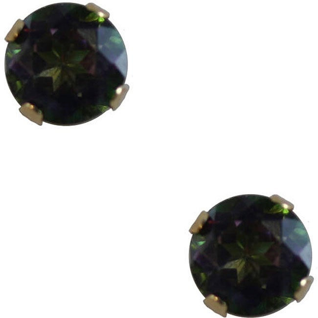 Gioelli 10k Yellow Gold Mystic Green Topaz Round Stud Earrings