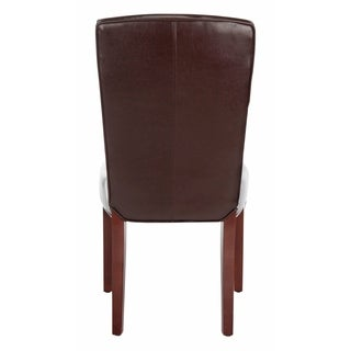 Safavieh Parsons Dining Bowery Brown Marbled Leather Dining Chairs (Set of 2)