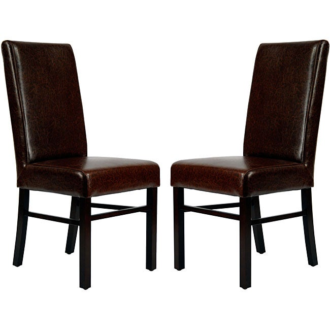 Brown Leather Maxwell Metal Dining Chair: Shop Safavieh Parsons Dining Astor Brown Marbled Leather