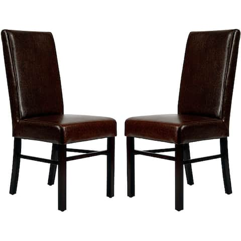 """Safavieh Parsons Dining Astor Brown Marbled Leather Dining Chairs (Set of 2) - 18.5"""" x 23.8"""" x 39.4"""""""
