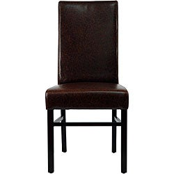 Safavieh Parsons Dining Astor Brown Marbled Leather Dining Chairs (Set of 2) - Thumbnail 1