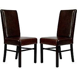 Safavieh Parsons Dining Astor Brown Marbled Leather Side Chairs (Set of 2)