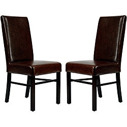 Safavieh Parsons Dining Astor Brown Marbled Leather Dining Chairs (Set of 2)
