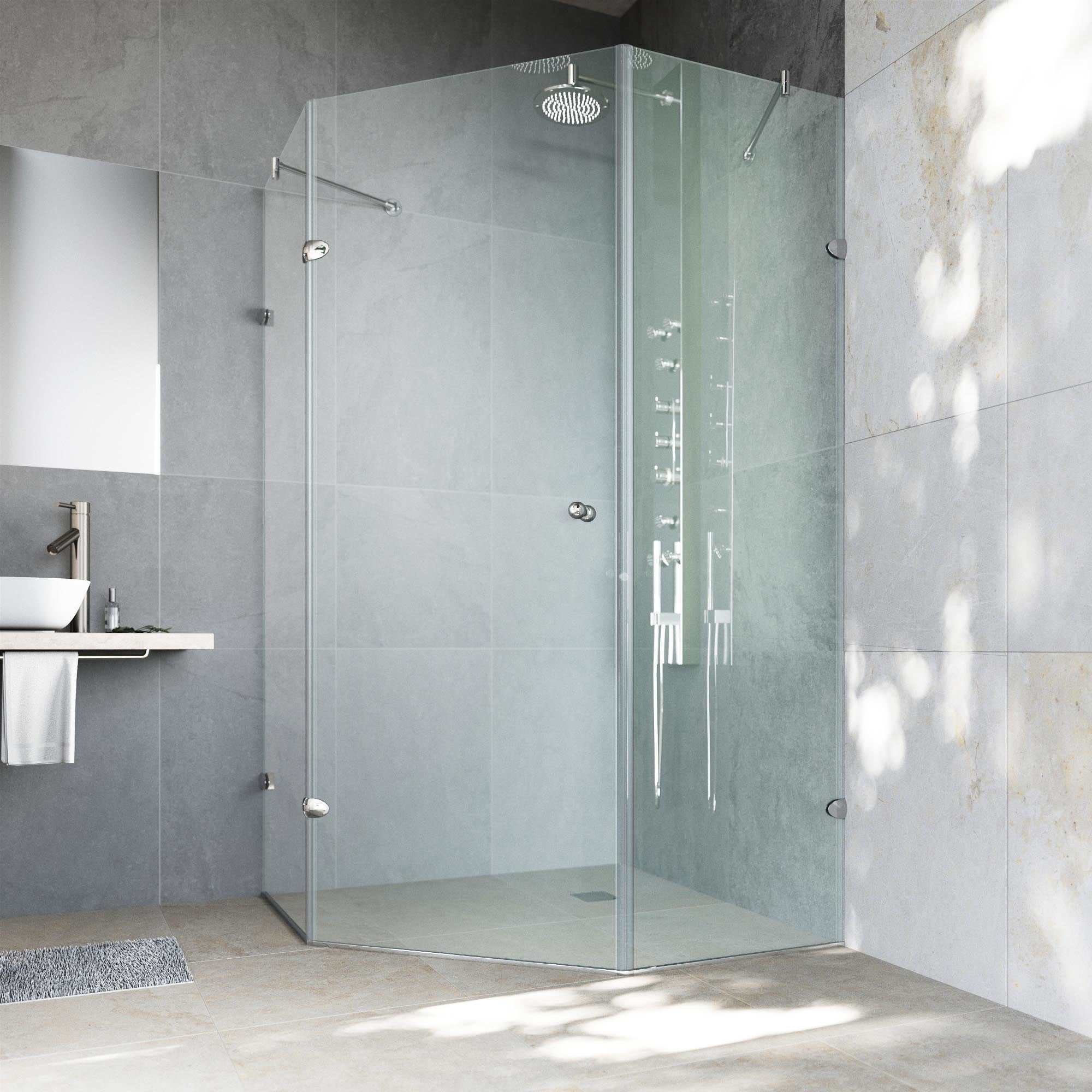 Details About Vigo Self Closing Frameless Neo Angle 3 8 Inch Clear Shower Brushed
