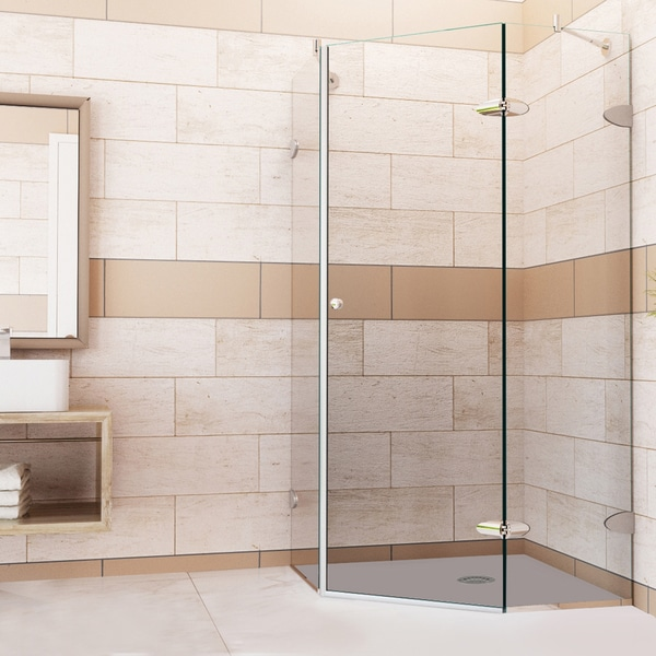 VIGO Self-Closing Frameless Neo-Angle 3/8-Inch Clear Shower Enclosure