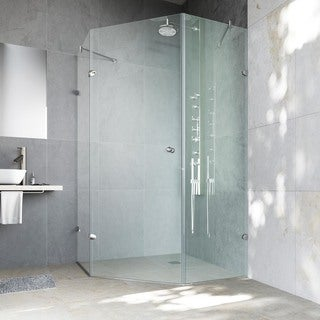 VIGO Watertight Frameless Neo-Angle 3/8-Inch Clear Shower Enclosure
