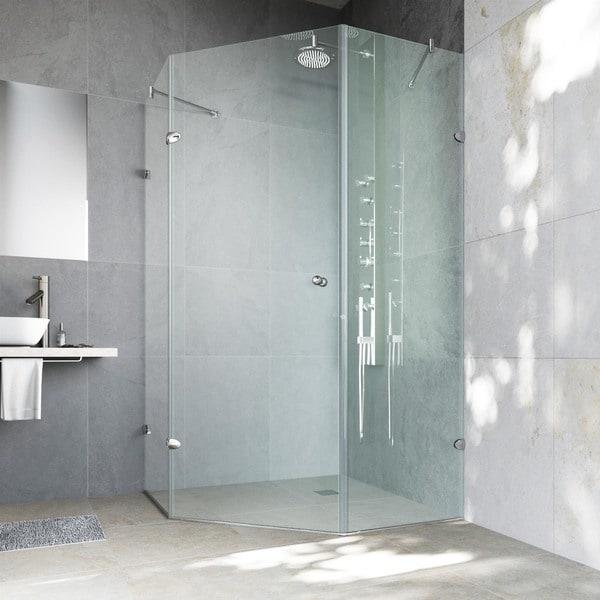 VIGO Watertight Frameless Neo Angle 3/8 Inch Clear Shower Enclosure