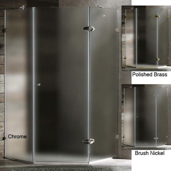 VIGO Frameless Self-Closing Neo-Angle 3/8-Inch Frosted Shower Enclosure