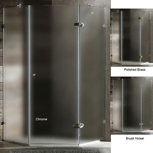 VIGO Frameless Durable Neo-Angle 3/8-Inch Frosted Shower Enclosure