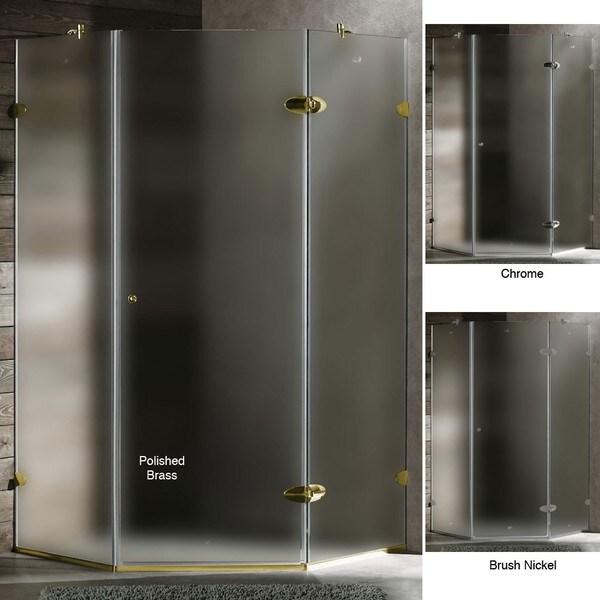 VIGO Frameless Sturdy Neo-Angle 3/8-Inch Frosted Shower Enclosure