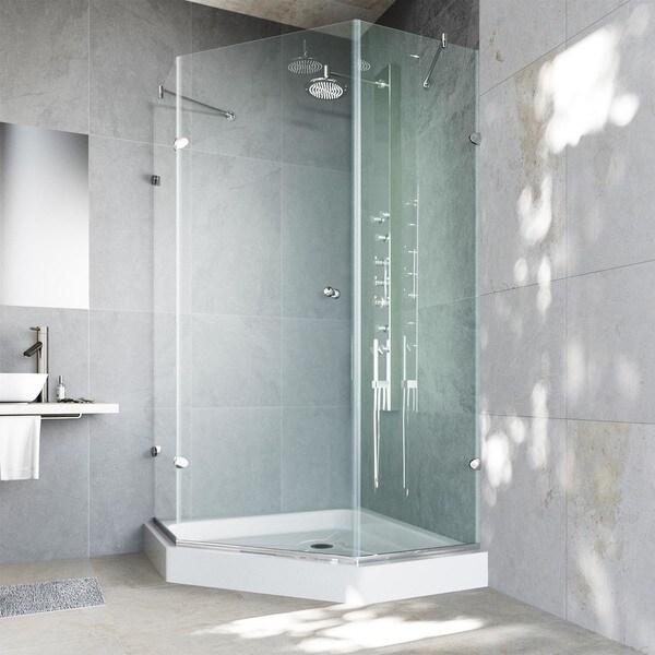 Vigo Frameless Neo Angle 38 Inch Clear Glass Shower Enclosure With