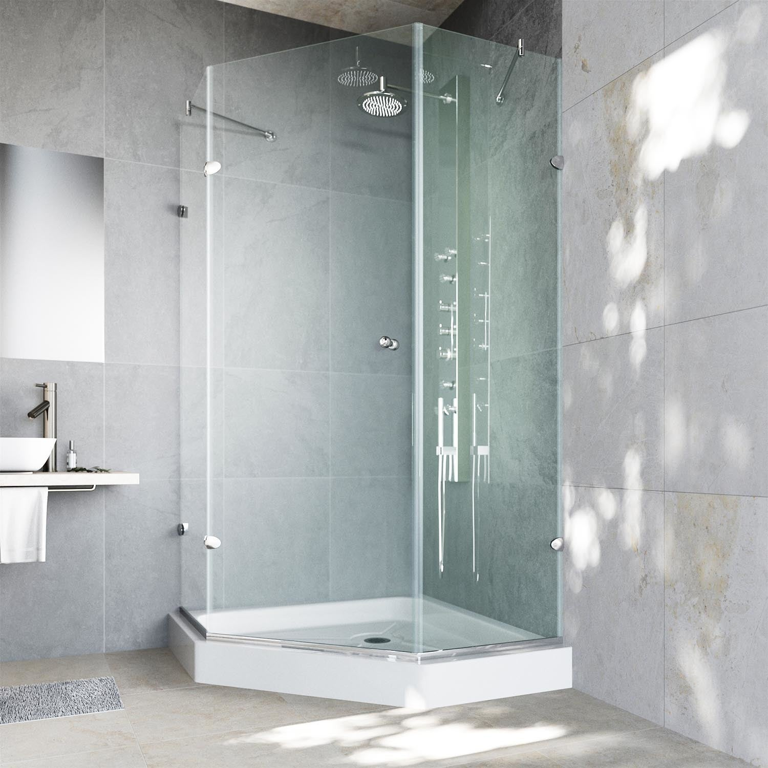 Vigo Waterproof Frameless Neo Angle 3 8 Inch Clear Shower Enclosure With White Base