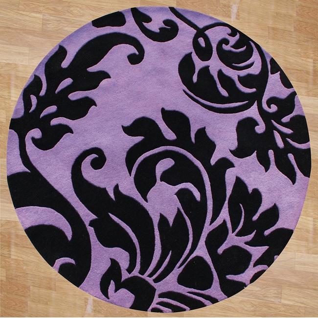 Alliyah Handmade Purple New Zealand Blend Wool Rug (6' Round)