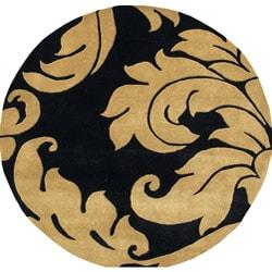 Alliyah Handmade Black New Zealand Blend Wool Rug Wool Rug (6' Round)