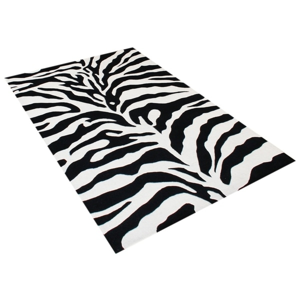 Alliyah Handmade Black New Zealand Blend Wool Rug (6' Square) - 6' x 6'