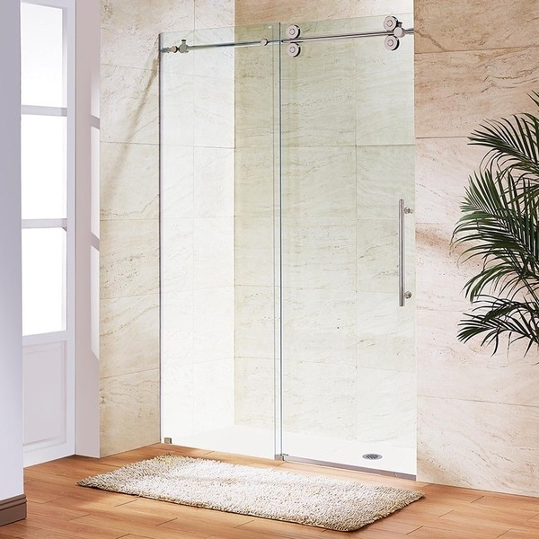 VIGO Clear Glass Frameless Sliding Shower Door