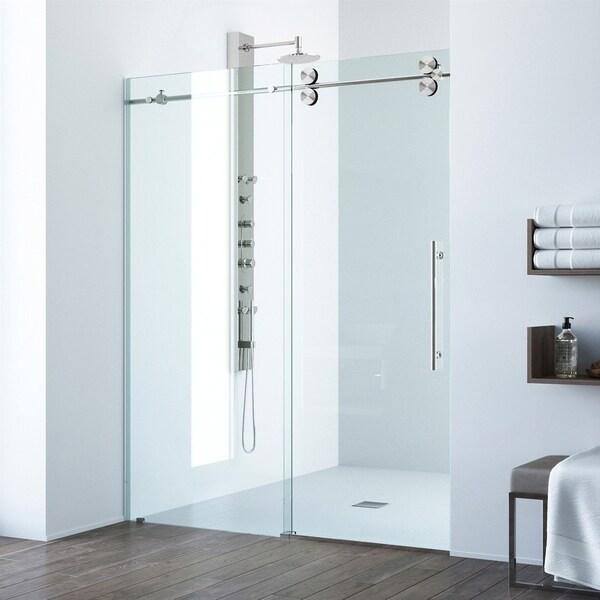 VIGO Elan 48 Inch Frameless Sliding Shower Door Clear/Stainless Steel